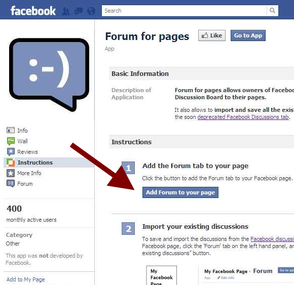 Forum for pages Facebook Application