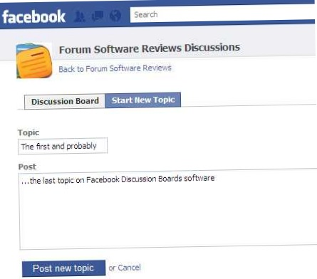 Facebook Discussion Board on Pages