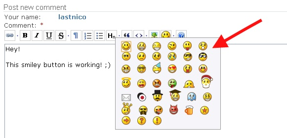 Comment Form BUEditor with a smileys button