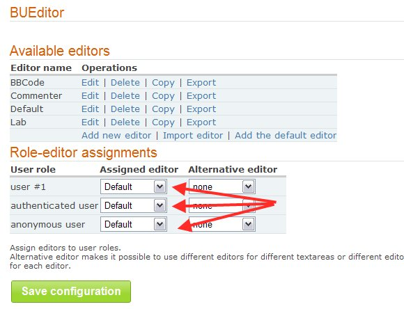 Configure BUEditor as the default editor for all users