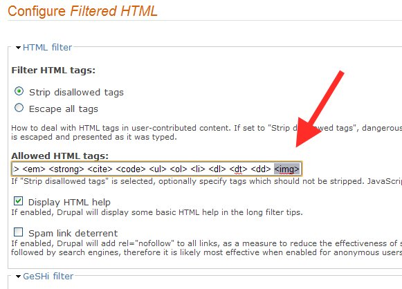 Configure Filtered HTML format to add image tag